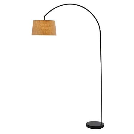 """Adesso® Goliath Arc Floor Lamp, 83""""H, Burlap/Black"""