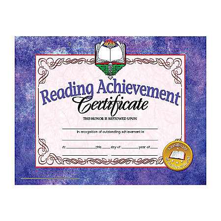 """Hayes Publishing Certificates, Reading Achievement, 8 1/2"""" x 11"""", Multicolor, Pre-K To Grade 12, Pack Of 30"""
