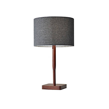 "Adesso® Ellis Table Lamp, 21""H, Dark Gray Shade/Walnut Base"