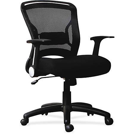 Lorell® Flipper Arm Mid-Back Mesh/Fabric Chair, Black