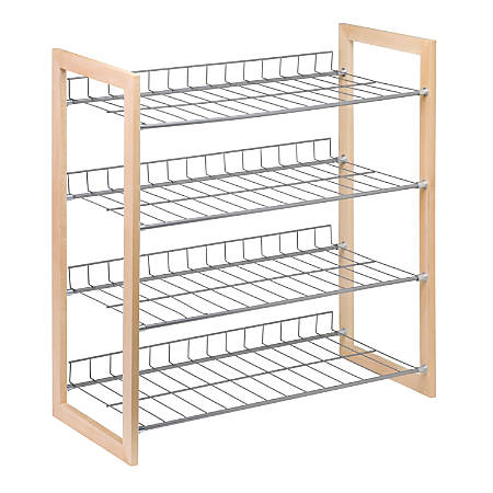 "Honey-can-do SHO-01384 4-Tier Closet Accessory Storage Shelf, Wood Frame - 4 Tier(s) - 27.3"" Height x 25.8"" Width11.8"" Length - Floor - Natural Wood, Steel"