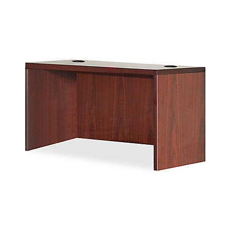 "Lorell® Essentials Series Rectangular Shell Desk, 48""W x 30""D, Mahogany"