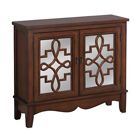 Monarch Specialties Wood Accent Chest With Mirror-Backed Doors, 1 Shelf, Dark Walnut