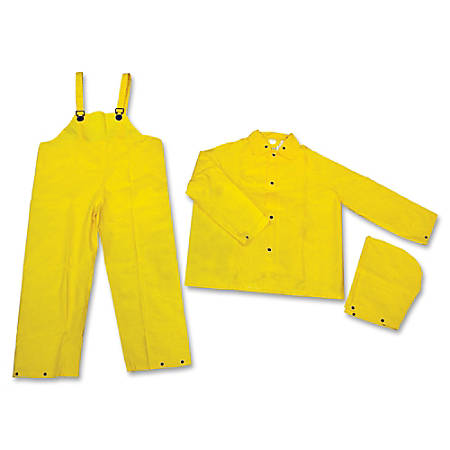 MCR Safety 3-Piece Rainsuit, Large, Yellow