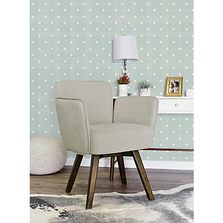 Elle Décor Esme Home Office Chair, Ivory/Dark Chinese Chestnut
