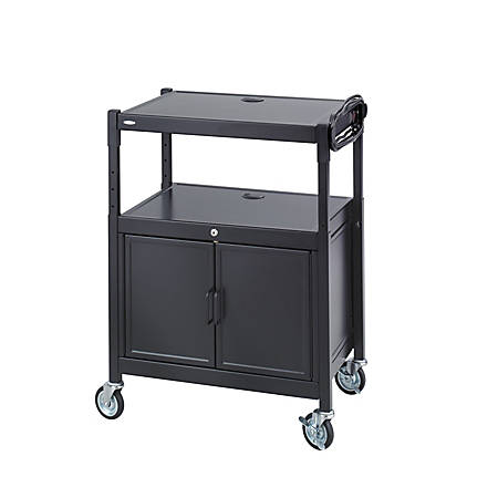 "Safco Steel Adjustable AV Carts With Cabinet,Adjust.,42""H x 24""W x 18""D, Black"