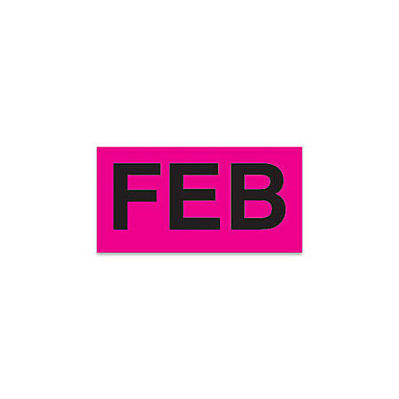 "Tape Logic® Permanent Inventory Label Roll, DL6722, Month-Style, ""FEB,"" 6"" x 3"", Pink, Roll Of 500"