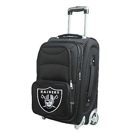 """Denco Nylon Expandable Upright Rolling Carry-On Luggage, 21""""H x 13""""W x 9""""D, Oakland Raiders, Black"""