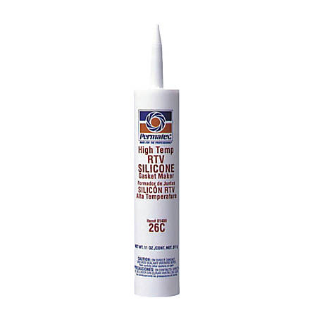 High-Temp Red RTV Silicone Gasket, 11 oz Cartridge, Red