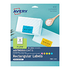 Avery Astrobrights Easy Peel Labels 4331