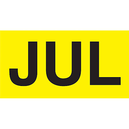 "Permanent Inventory Label Roll, DL6822, Month-Style, ""JUL,"" 6"" x 3"", Yellow, Roll Of 500"