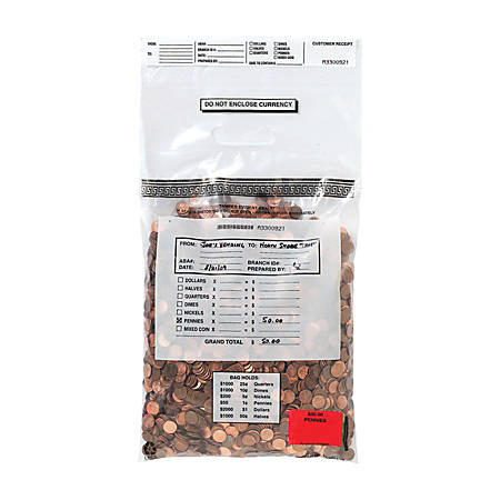 """MMF Industries Single-Handle Self-Sealing Coin Deposit Bags, 12 3/8"""" x 18"""", Clear, Box Of 100"""