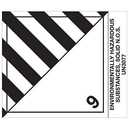 "Tape Logic® Preprinted Shipping Labels, DL518P1, Environmentally Hazardous Substances, Solid, Square, 4"" x 4 3/4"", Black/White, Roll Of 500"