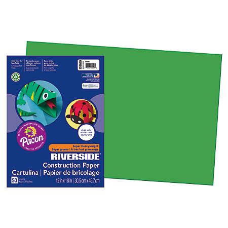 """Riverside® Groundwood Construction Paper, 100% Recycled, 12"""" x 18"""", Green, Pack Of 50"""