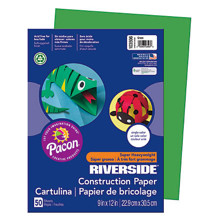 "Riverside® Groundwood Construction Paper, 100% Recycled, 9"" x 12"", Green, Pack Of 50"