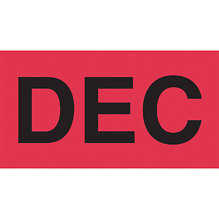 "Tape Logic® Permanent Inventory Label Roll, DL6922, Month-Style, ""DEC,"" 6"" x 3"", Red, Roll Of 500"