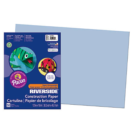 "Riverside® Groundwood Construction Paper, 100% Recycled, 12"" x 18"", Light Blue, Pack Of 50"