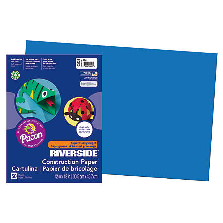 "Riverside® Groundwood Construction Paper, 100% Recycled, 12"" x 18"", Blue, Pack Of 50"