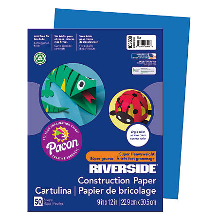 "Riverside® Groundwood Construction Paper, 100% Recycled, 9"" x 12"", Blue, Pack Of 50"