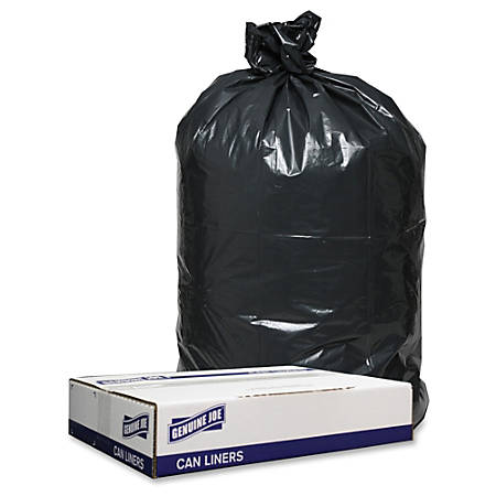 "Genuine Joe 1.2mil Black Trash Can Liners - 38"" Width x 58"" Length - 1.20 mil (30 Micron) Thickness - Low Density - 100/Carton - Black"