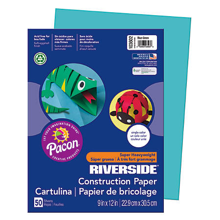 "Riverside® Groundwood Construction Paper, 100% Recycled, 9"" x 12"", Blue Green, Pack Of 50"