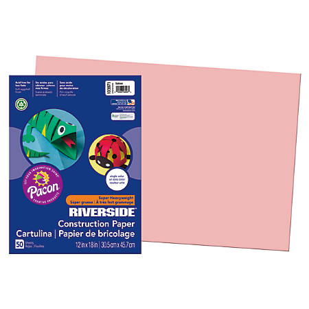 "Riverside® Groundwood Construction Paper, 100% Recycled, 12"" x 18"", Salmon, Pack Of 50"