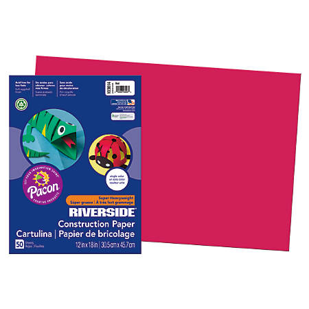 "Riverside® Groundwood Construction Paper, 100% Recycled, 12"" x 18"", Red, Pack Of 50"