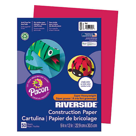 """Riverside® Groundwood Construction Paper, 100% Recycled, 9"""" x 12"""", Red, Pack Of 50"""