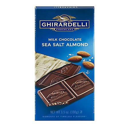 Ghirardelli® Chocolate Bars, Milk Chocolate And Sea Salt, 3.5 Oz, Pack Of 12 Bars