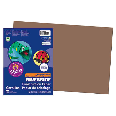 """Riverside® Groundwood Construction Paper, 100% Recycled, 12"""" x 18"""", Brown, Pack Of 50"""