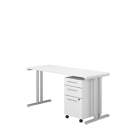 """Bush Business Furniture 400 Series Table Desk With 3 Drawer Mobile File Cabinet, 60""""W x 24""""D, White, Premium Installation"""