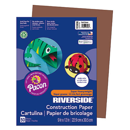 "Riverside® Groundwood Construction Paper, 100% Recycled, 9"" x 12"", Dark Brown, Pack Of 50"