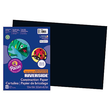 "Riverside® Groundwood Construction Paper, 100% Recycled, 12"" x 18"", Black, Pack Of 50"