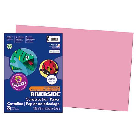 "Riverside® Groundwood Construction Paper, 100% Recycled, 12"" x 18"", Pink, Pack Of 50"