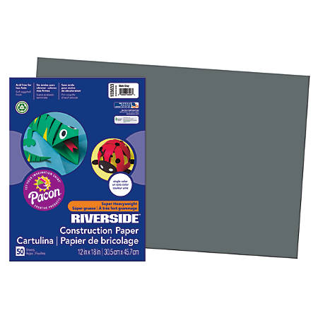 """Riverside® Groundwood Construction Paper, 100% Recycled, 12"""" x 18"""", Slate Gray, Pack Of 50"""