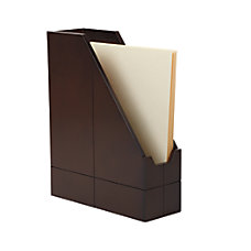 Realspace Wood Collection Magazine Holder Brown
