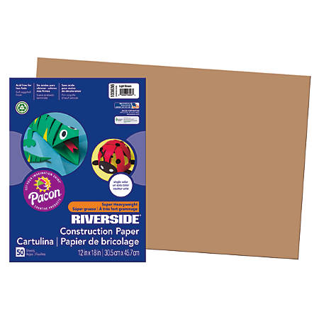 "Riverside® Groundwood Construction Paper, 100% Recycled, 12"" x 18"", Light Brown, Pack Of 50"