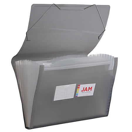 "JAM Paper® Legal Size Expanding File, 8"" Expansion, 8-1/2"" x 14"", Smoke Gray"