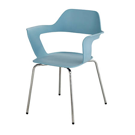 Safco® Bandi™ Shell Stacking Chairs, Blue/Silver, Set Of 2