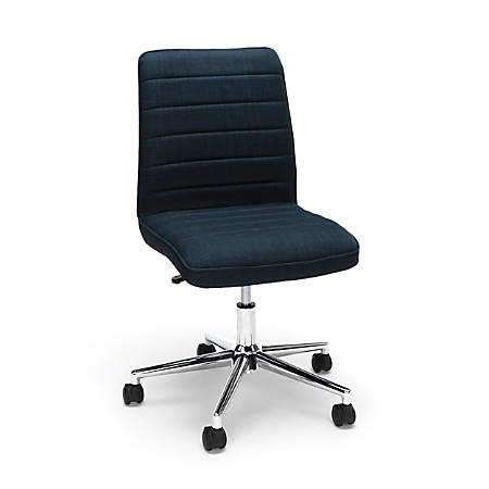 Essentials By OFM Mid-Back Desk Chair, Fabric, Blue/Chrome