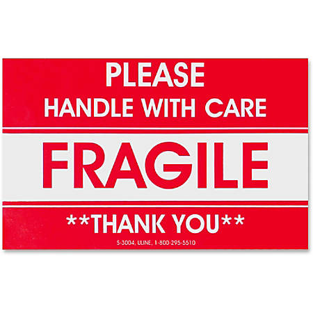 "Tatco TCO10951 Fragile/Handle With Care Shipping Label, ""Please Handle with Care"", ""Thank You"" 3"" x 5"", Red/White, Roll Of 500"