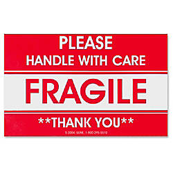 Tatco FragileHandle With Care Shipping Label