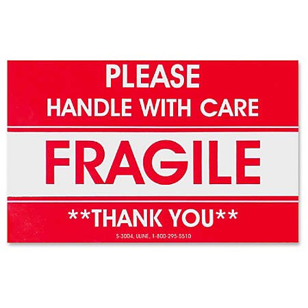 """Tatco Fragile/Handle With Care Shipping Label ™ """"Fragile ™ Handle with Care"""", TCO10951, """"Thank You"""" ™ 3"""" Width x 5"""" Length ™ Rectangle ™ 3"""" Core ™ Red ™ 500 / Roll ™ 500 / Roll"""