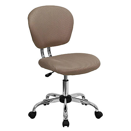 Flash Furniture Mesh Mid-Back Swivel Task Chair, Coffee Brown/Silver