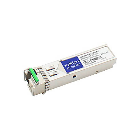 AddOn MSA and TAA Compliant 1000Base-BX SFP Transceiver (SMF, 1490nmTx/1550nmRx, 80km, LC, DOM)