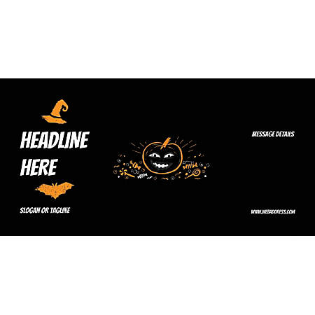 Custom Horizontal Banner, Black Halloween