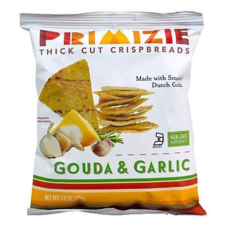 Primizie Gouda Garlic Flatbread Crisps, 1.5 Oz, Box Of 24 Bags