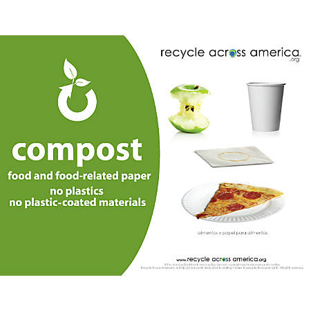 "Recycle Across America Compost Standardized Labels, COMP-8511, 8 1/2"" x 11"", Green"