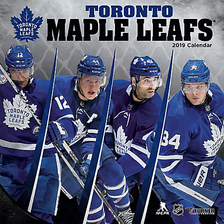 """Turner Sports Monthly Wall Calendar, 12"""" x 12"""", Toronto Maple Leafs, January to December 2019"""