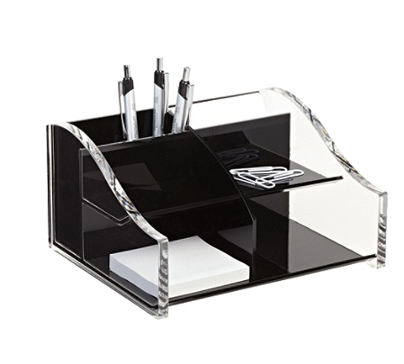 Realspace Acrylic Desk Organizer 4 516 X 7 18 8 Blackclear By Office Depot Officemax